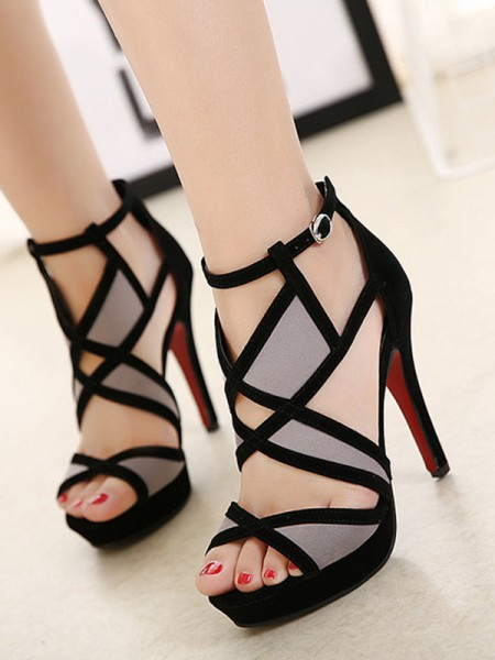 Hollow-out Stiletto Hiel Peep Toe Sandalen