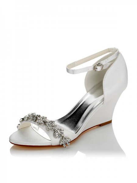 Dames Satijn PU Peep Toe Wedge Heel Trouwschoenen