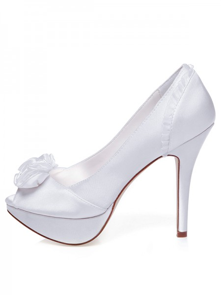 Dames Satijn Peep Toe Stiletto Heel Knopen Trouwschoenen