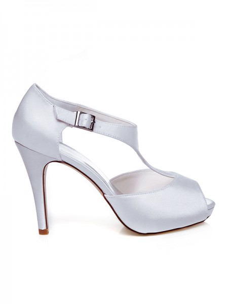 Dames Satijn Peep Toe Buckle naaldhak trouwschoenen