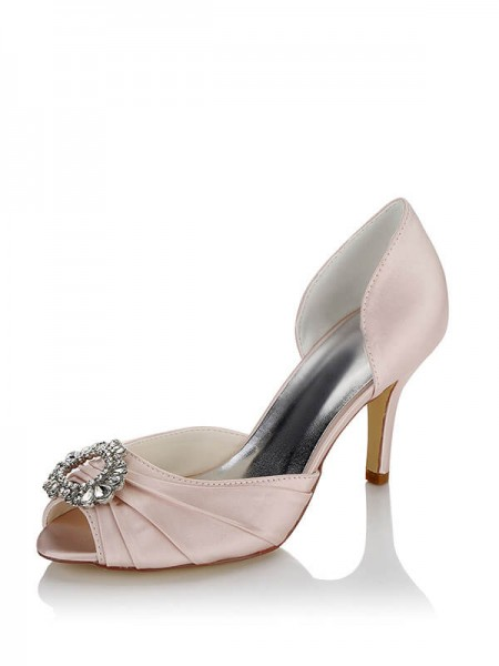 Dames Satijn PU Peep Toe Stiletto Heel Trouwschoenen